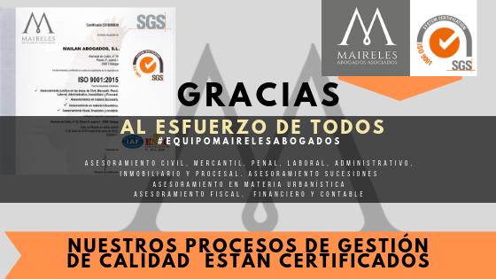 Maireles Abogados consigue la CERTIFICACION CALIDAD ISO 9001
